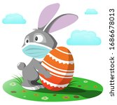 easter bunny in a medical mask. ...   Shutterstock .eps vector #1686678013