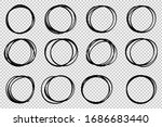 hand drawn circle sketch frame... | Shutterstock .eps vector #1686683440