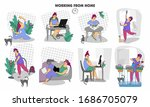 working remotely. work from...   Shutterstock . vector #1686705079