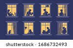 Neighbors In Windows. Cartoon...