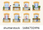 neighbors in windows. people... | Shutterstock .eps vector #1686732496