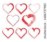 hand drawn rough marker hearts... | Shutterstock .eps vector #1686737983