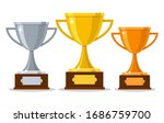 Gold Silver Bronze Trophy Cups. ...