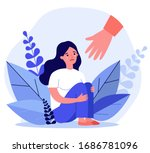 young woman getting help and... | Shutterstock .eps vector #1686781096