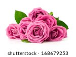 Stock photo bouquet of pink roses isolated on white 168679253