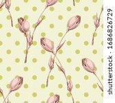 pink rose buds seamless pattern ...   Shutterstock .eps vector #1686826729