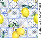 watercolor lemon seamless... | Shutterstock . vector #1686828073