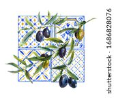 watercolor olive branches... | Shutterstock . vector #1686828076