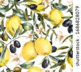 watercolor lemon and olive... | Shutterstock . vector #1686828079
