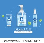 wash hand sanitizer gel bottle... | Shutterstock .eps vector #1686831316