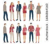 set of men and women  cartoon... | Shutterstock .eps vector #1686864160