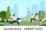 family in park. city park... | Shutterstock .eps vector #1686871633
