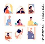 peeking people. man looking out ... | Shutterstock .eps vector #1686871663