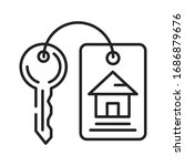 house keys black line icon....
