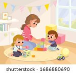 mother playing with kids at... | Shutterstock .eps vector #1686880690