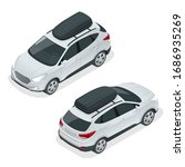 isometric suv car with rooftop... | Shutterstock .eps vector #1686935269