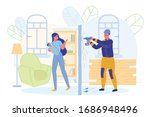 woman annoyed by noise from...   Shutterstock .eps vector #1686948496