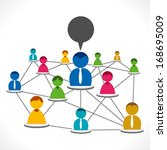 colorful people connected or... | Shutterstock .eps vector #168695009