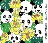 panda seamless pattern in... | Shutterstock .eps vector #1686972163