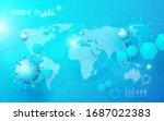 composition of coronavirus.... | Shutterstock .eps vector #1687022383