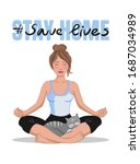 stay at home  save lives... | Shutterstock .eps vector #1687034989