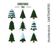 flat christmas tree set.... | Shutterstock .eps vector #1687040950