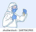 doctor in a protective ppe suit ... | Shutterstock .eps vector #1687061983