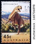Small photo of AUSTRALIA - CIRCA 1993: a stamp printed in the Australia shows Allosaurus, Theropod Dinosaur, circa 1993