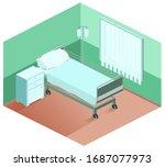 hospital ward bed  bedside...   Shutterstock .eps vector #1687077973