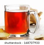 cup of tea and ginger.... | Shutterstock . vector #168707933