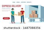 courier in uniform with medical ... | Shutterstock .eps vector #1687088356