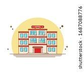 hotel building vector icon... | Shutterstock .eps vector #1687088776