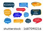 covid 19 hashtags set to... | Shutterstock .eps vector #1687090216