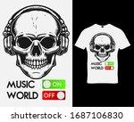 skull with headphones. music t... | Shutterstock .eps vector #1687106830