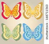 abstract butterflies  | Shutterstock .eps vector #168711563