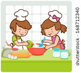 children cooking in the kitchen.... | Shutterstock . vector #168712340
