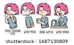 woman covid 19 proper hygiene... | Shutterstock .eps vector #1687130809