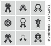 vector black award medal icons... | Shutterstock .eps vector #168713936