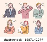 various people are holding... | Shutterstock .eps vector #1687142299