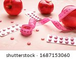 measuring tape  apples and... | Shutterstock . vector #1687153060