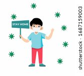 cute kid holding a sign plate ... | Shutterstock .eps vector #1687159003