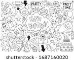 hand drawn party doodle happy...   Shutterstock .eps vector #1687160020