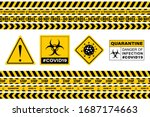 stop covid 19 sign. seamless... | Shutterstock .eps vector #1687174663