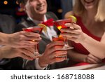 close up of hands with glasses  ... | Shutterstock . vector #168718088