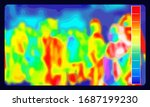 Illustration vector graphic of thermal Image Scanning for Influenza Border Screening and check people who come from China in airport. Coronavirus spread control. infrared color scale. covid-19.