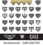 shield monogram font. pentagon... | Shutterstock .eps vector #1687206703