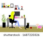 business woman work from home... | Shutterstock .eps vector #1687220326