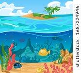 cartoon color underwater world...   Shutterstock .eps vector #1687224946