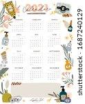 wall calendar. 2021 yearly... | Shutterstock .eps vector #1687240129
