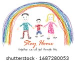 the word stay home  save you by ... | Shutterstock .eps vector #1687280053